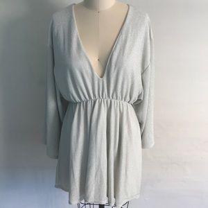Missguided Silver Shimmer V-Neck Dress